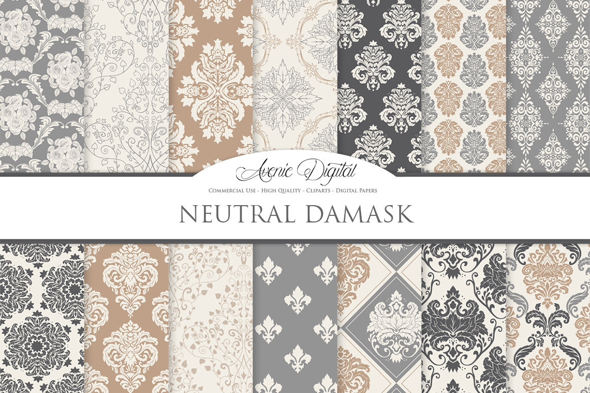28 Neutral Damask Patterns - Wedding Seamless Digital Papers Bundle example image 2