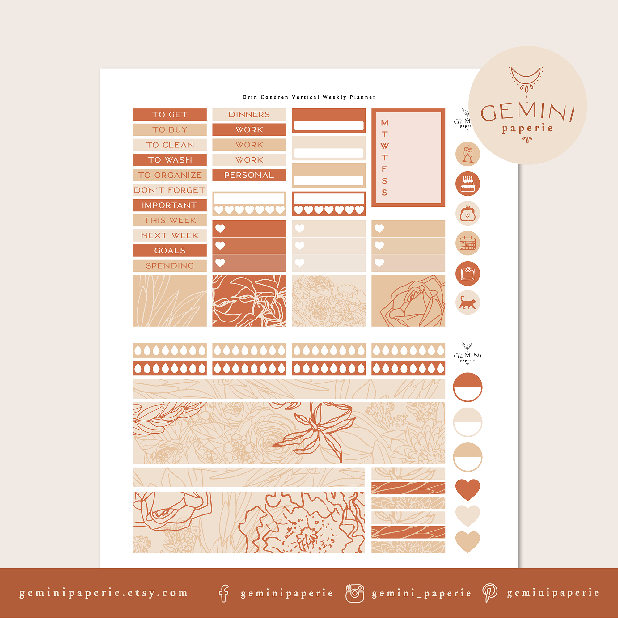Printable Planner Stickers Weekly Kit for Erin Condren 2020 example image 4