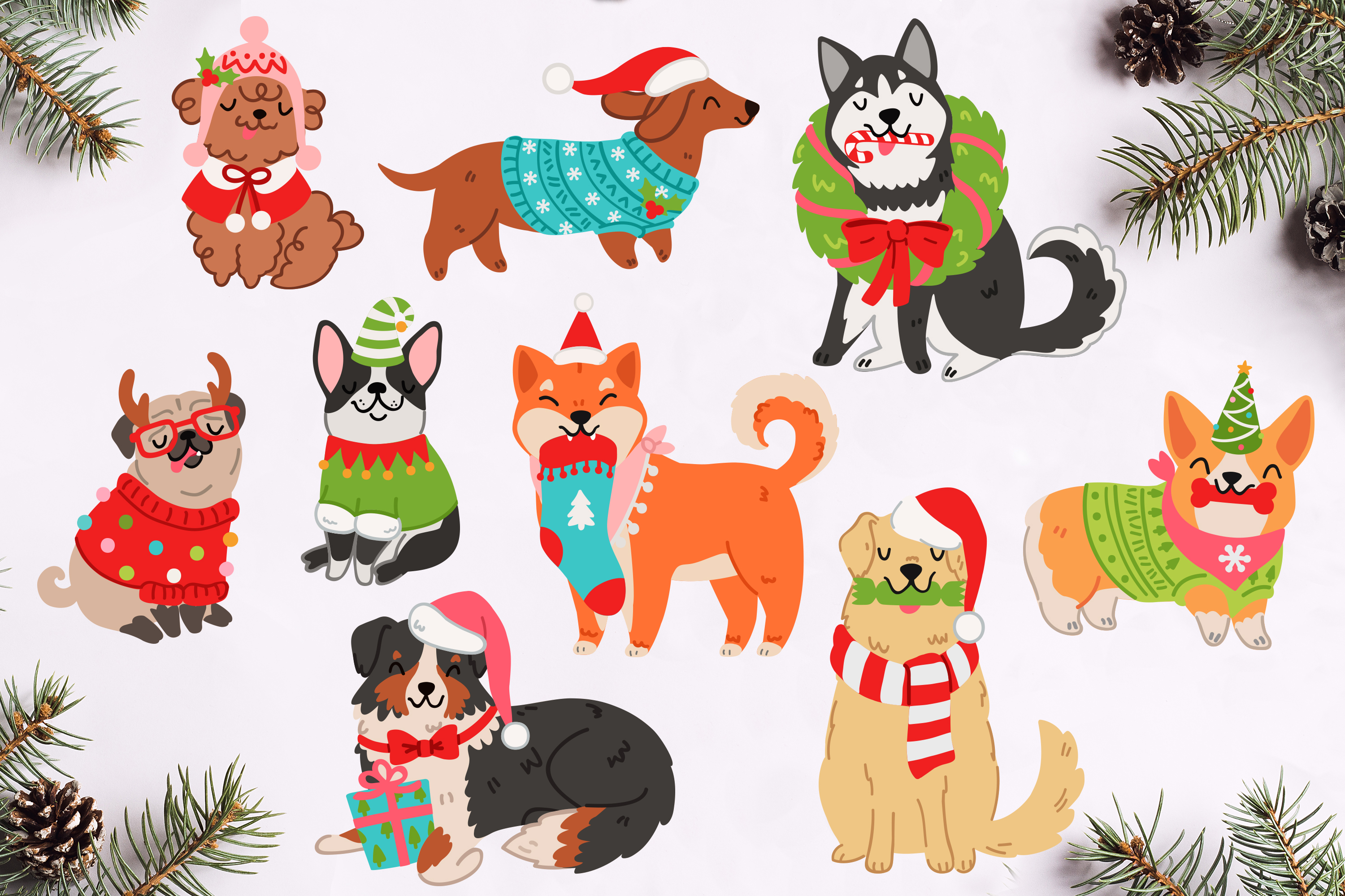 Christmas Dogs Vector Art example image 2