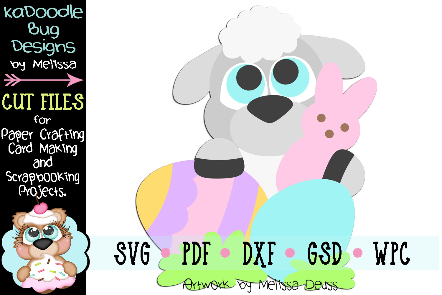 Spring Easter Lamb Peeker Cut File - SVG PDF DXF GSD WPC example image 1