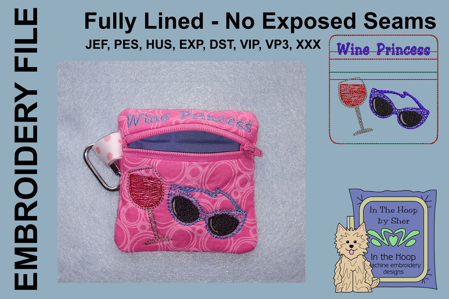 Wine Princess Zipper Bag / Fully Lined, 4X4 HOOP example image 2