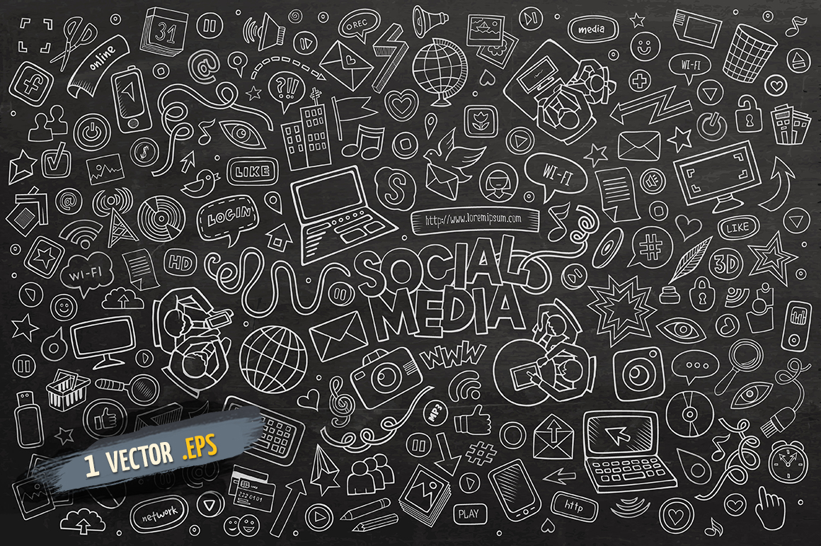 Social Media Cartoon Doodle Objects & Symbols Set example image 3