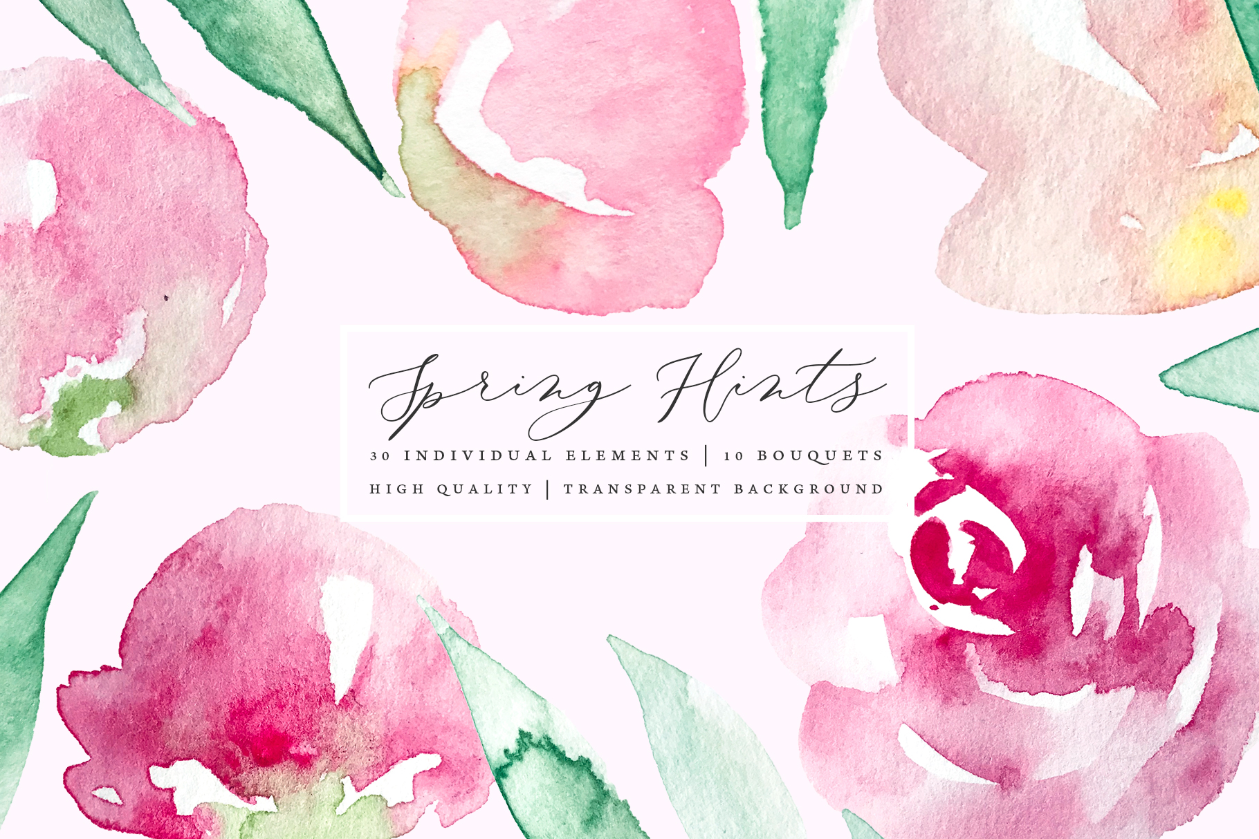 Pastel watercolor spring floral illustrations example image 1