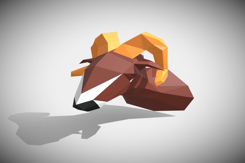 RAM DIY Paper Sculpture Animal head Trophy example image 7