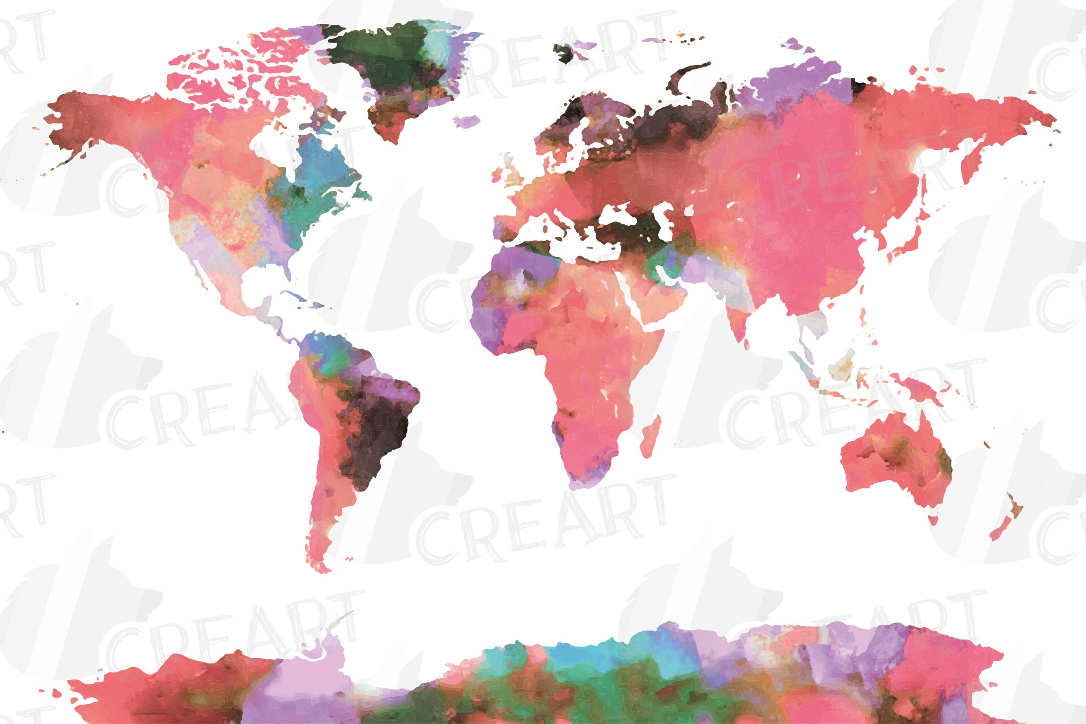 Watercolor pink World map digital poster, girls colorful map