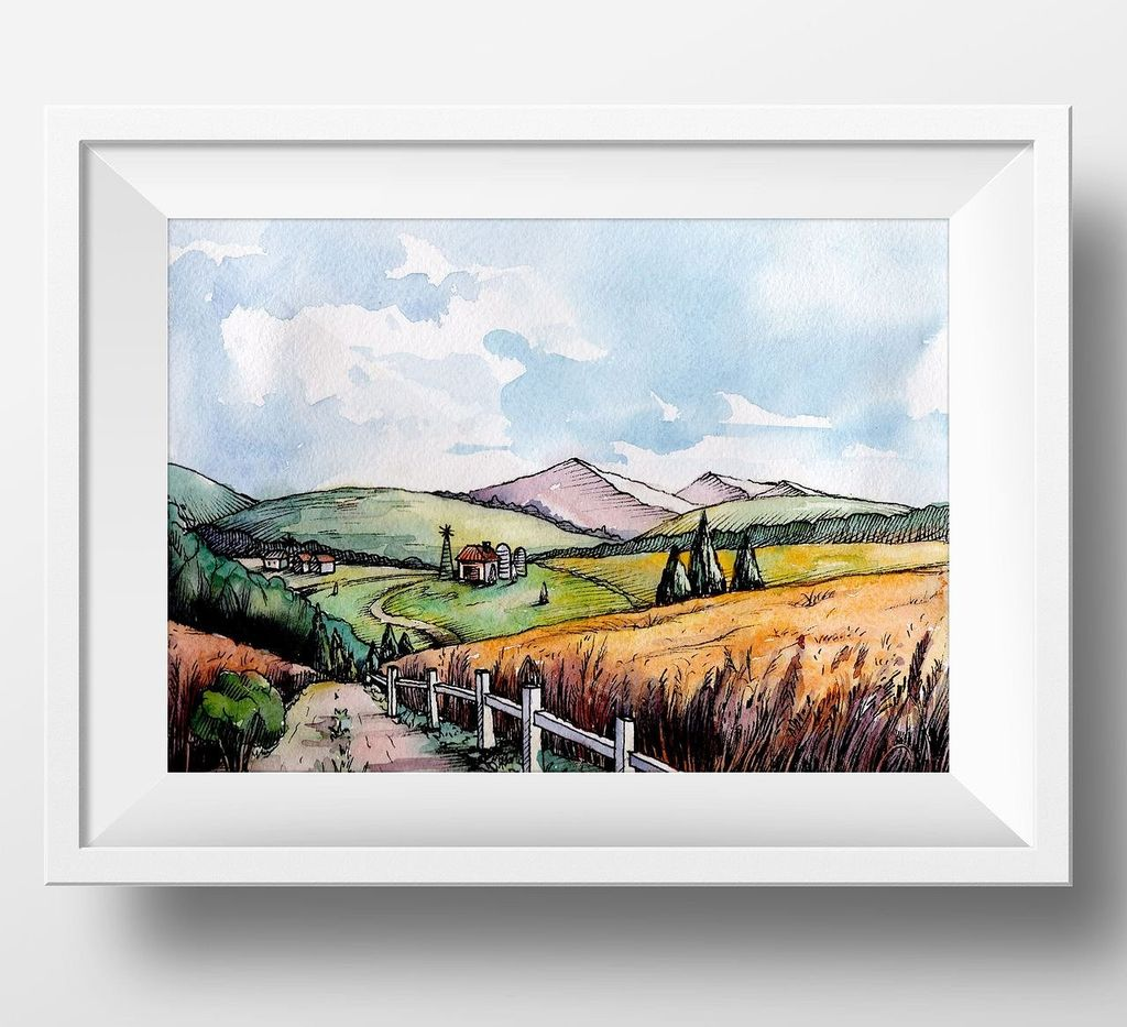 Countryside Watercolor Landscapes example image 12