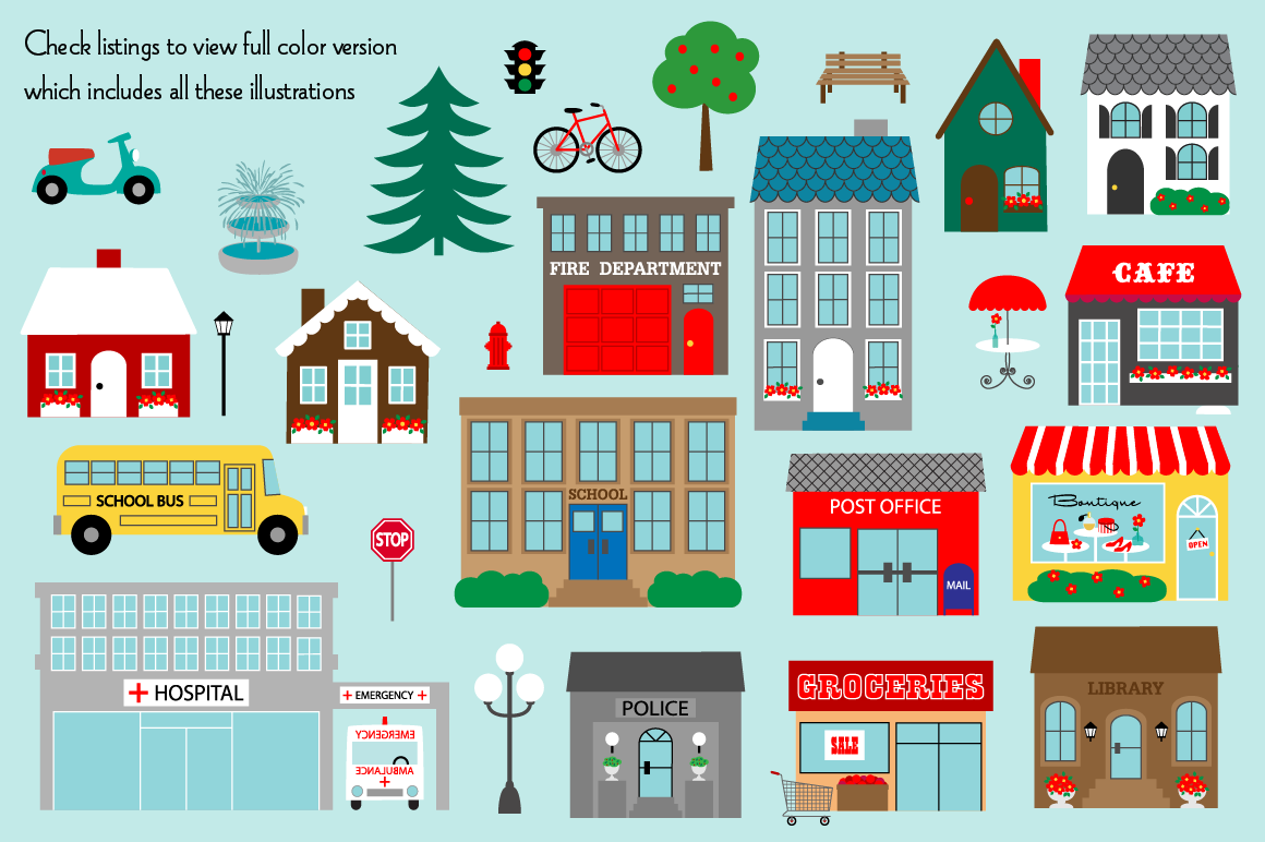 Town Buildings Digital Stamps Clipart example image 4