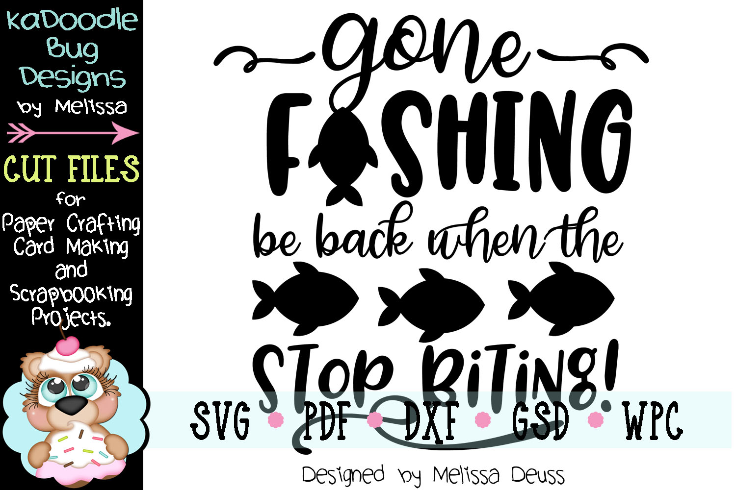 Gone Fishing Cut File - SVG PDF DXF GSD WPC example image 2