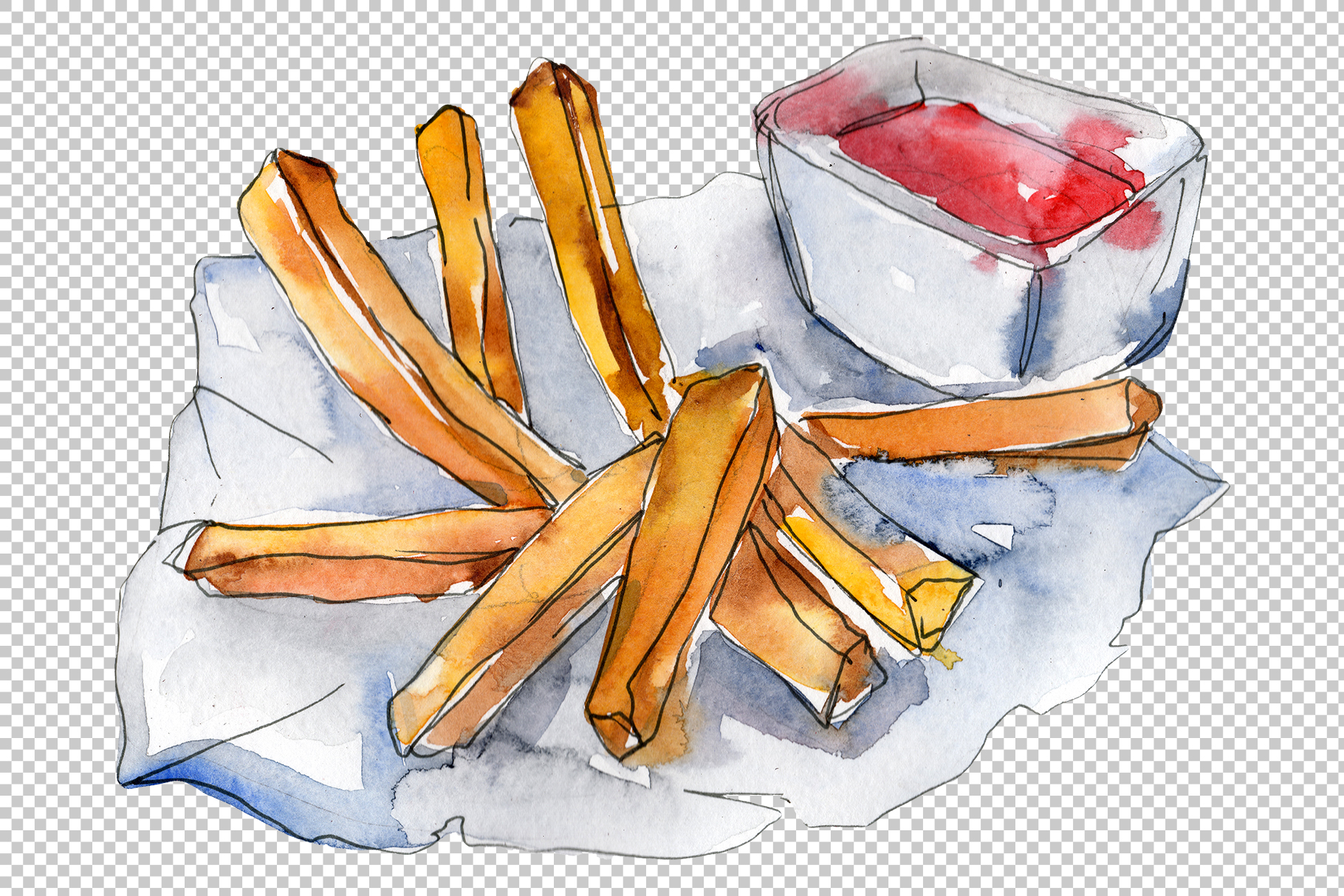 French fries with sauce Watercolor png example image 6