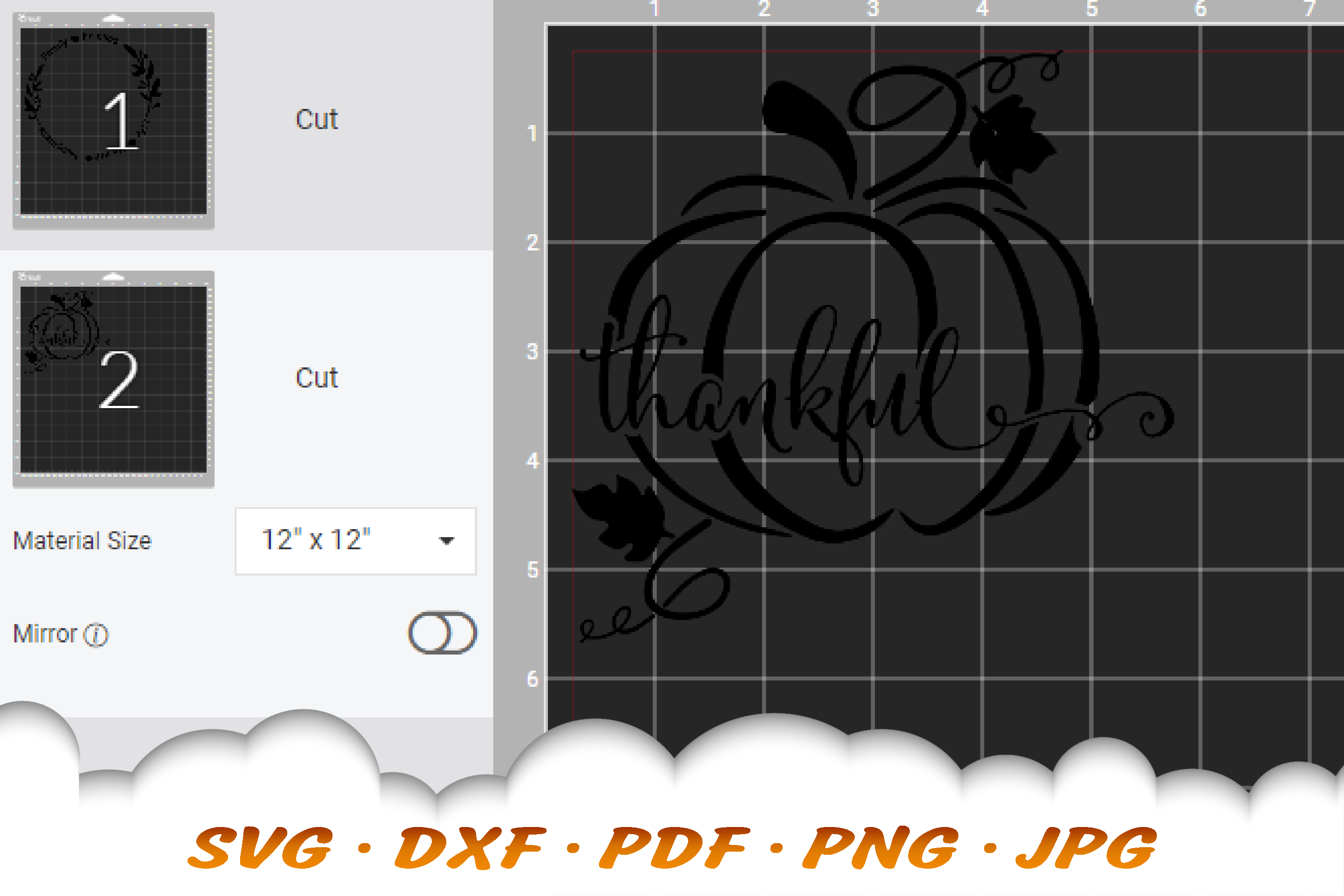 Thankful Fall Pumpkin Sign SVG DXF Cut Files example image 3