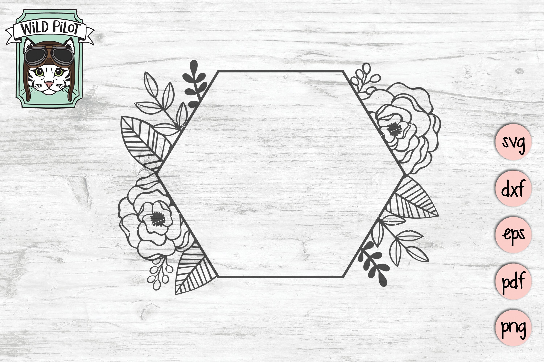 Flower Frame SVG file, Hexagon Frame, Wedding template example image 1
