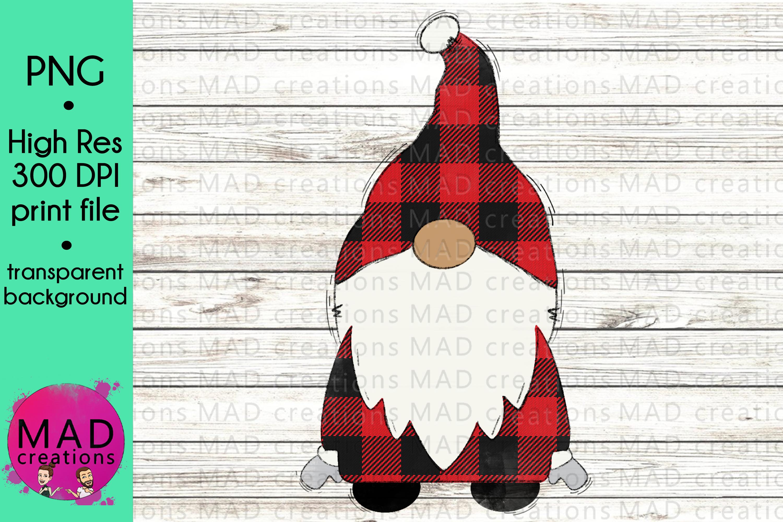 Santa Gnome - Red and Black Buffalo Plaid example image 1