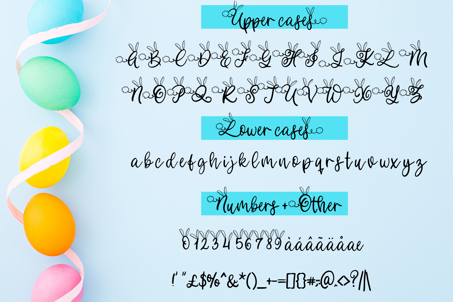 Bunny Tail - An Easter script font with doodles example image 2