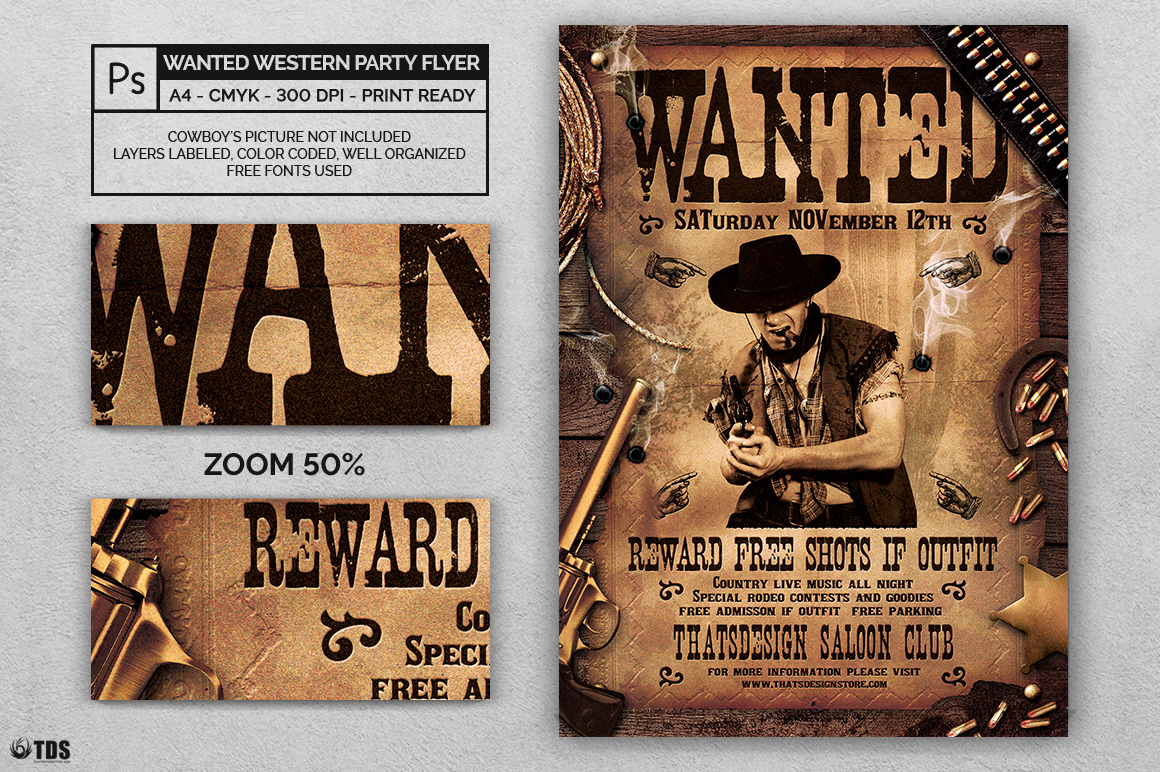 Wanted Western Party Flyer Template example image 2
