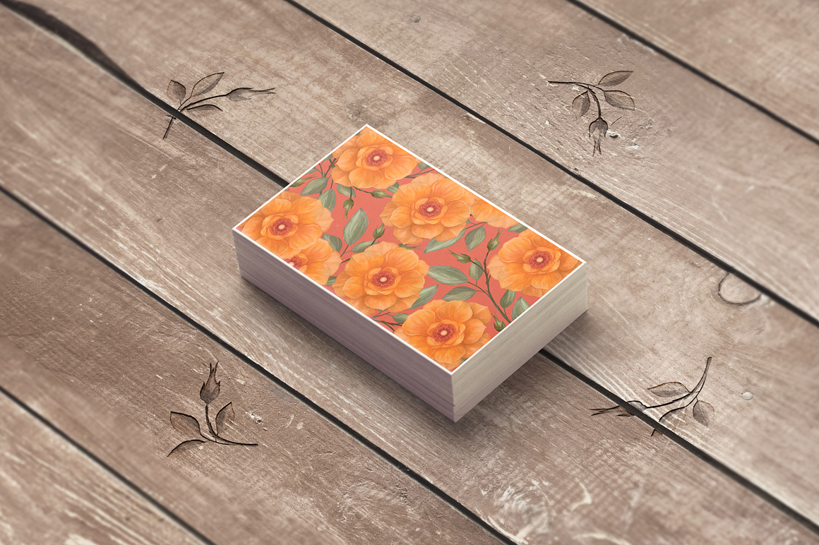 Peach Wild Rose Business Card Template example image 4