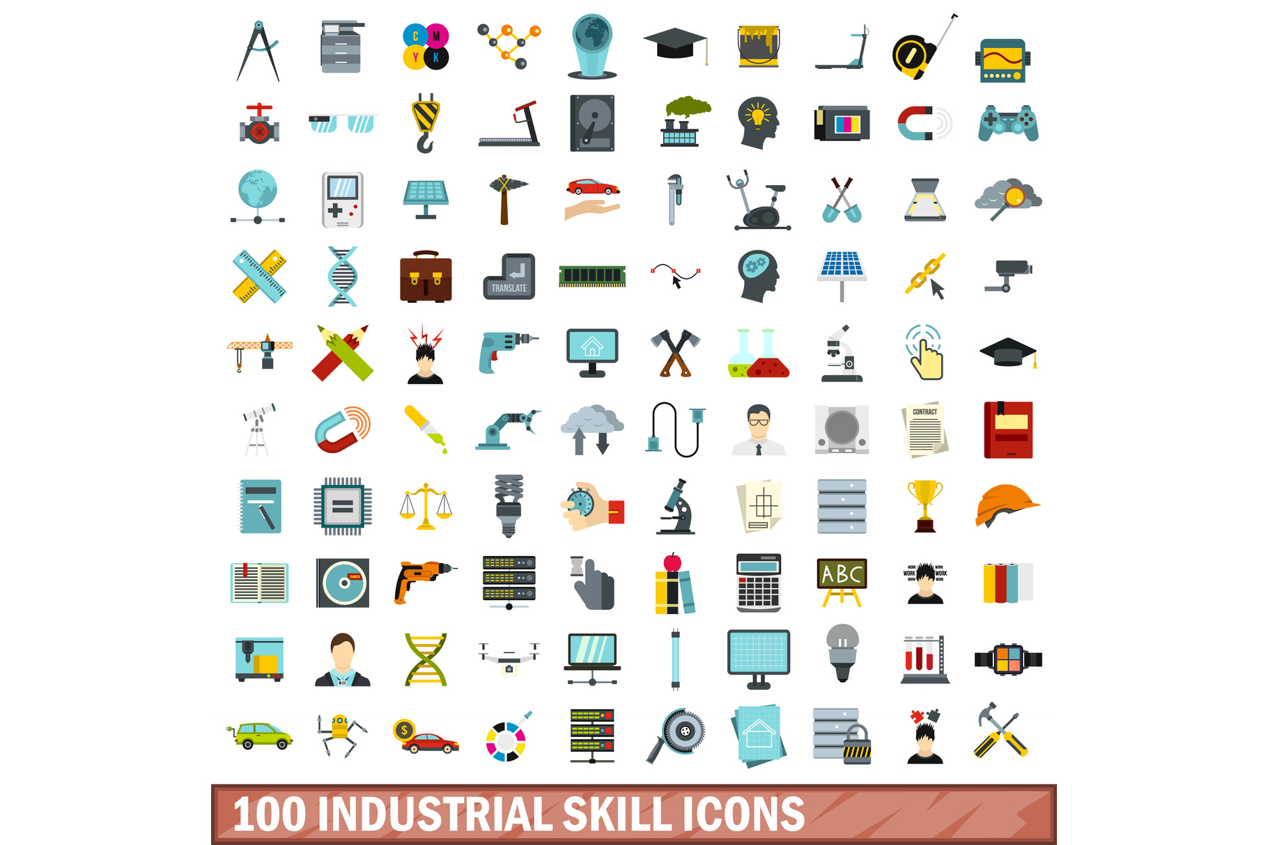 100 industrial skill icons set, flat style example image 1