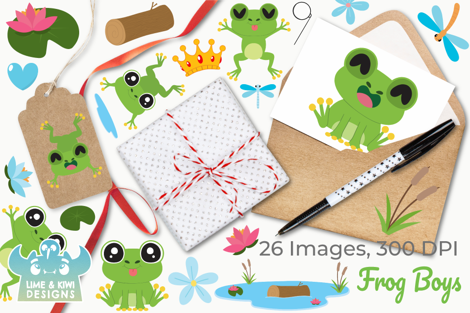 Frog Boys Clipart, Instant Download Vector Art example image 4