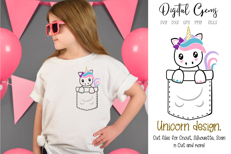 Unicorn pocket design SVG / DXF / EPS / PNG files example image 1