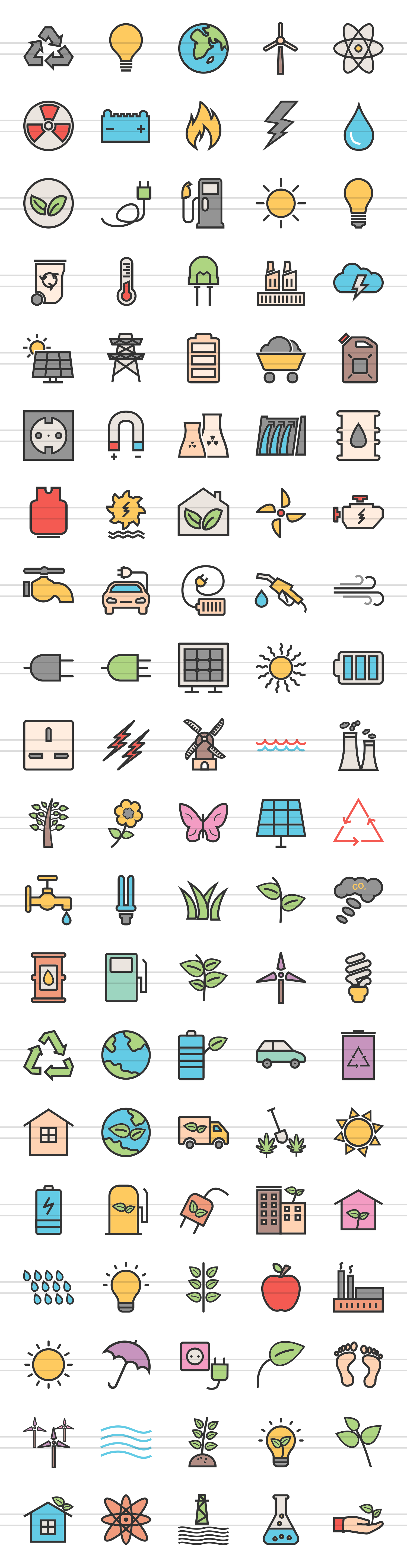 100 Energy Filled Line Icons example image 2