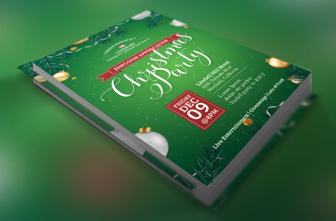 Green Christmas Party Flyer Template example image 1