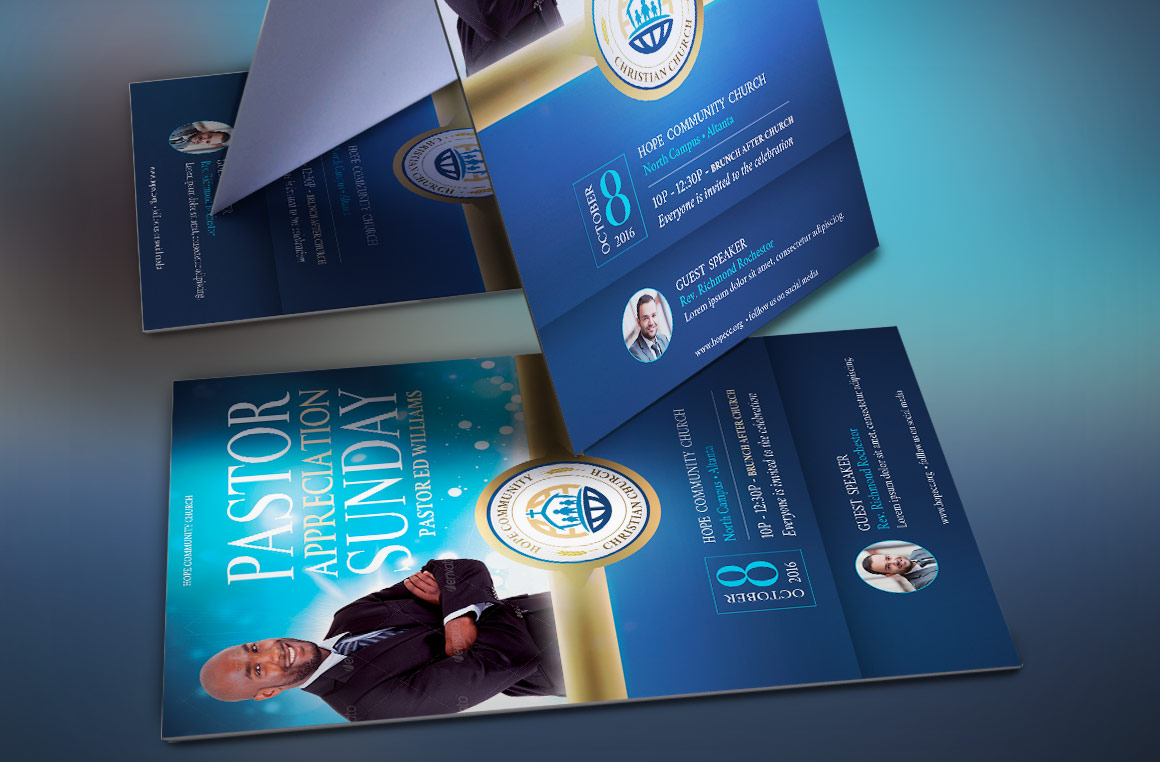 Blue Pastor Appreciation Flyer Template example image 3