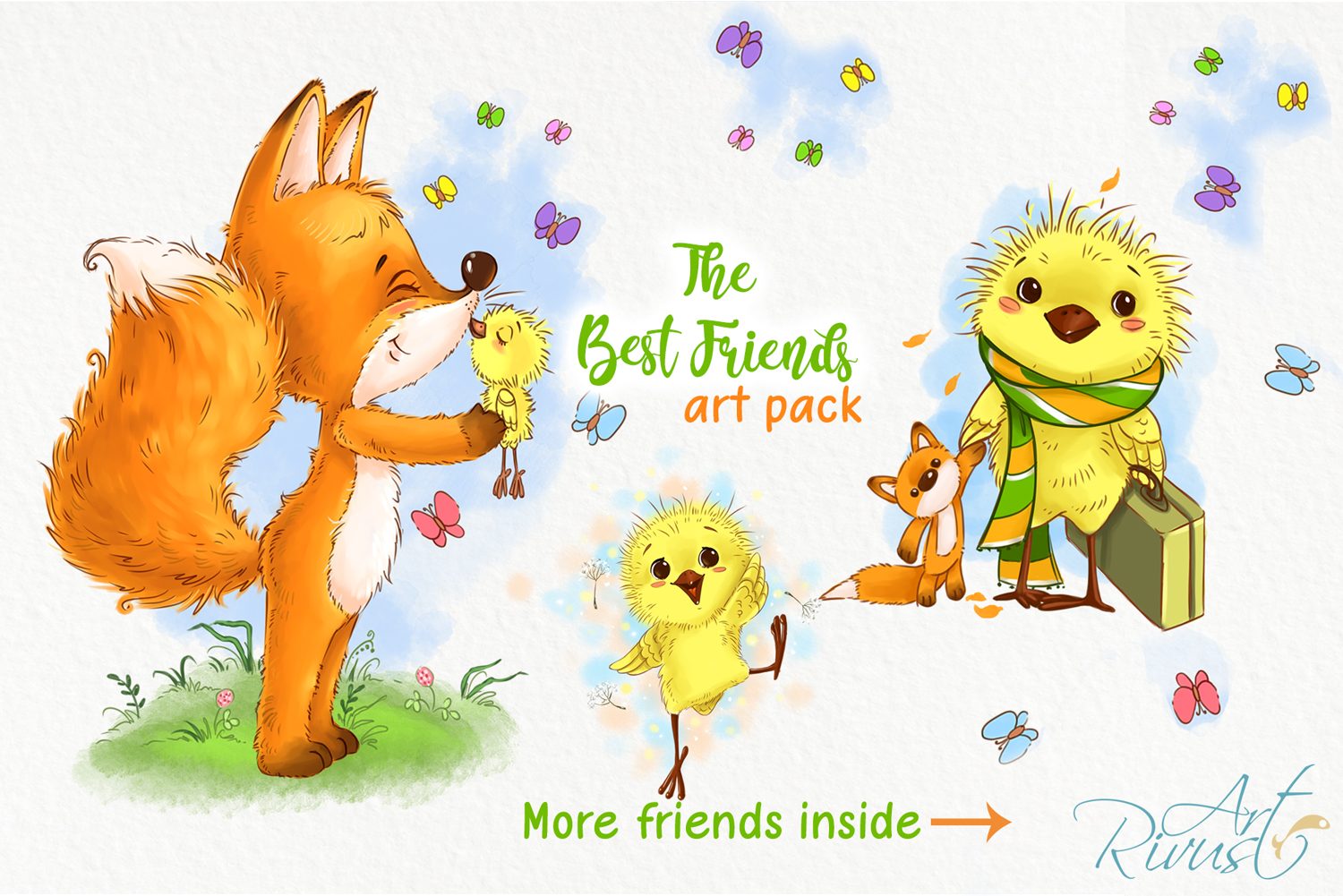 Fox and chick PNG clipart. The best friend graphic art. example image 2