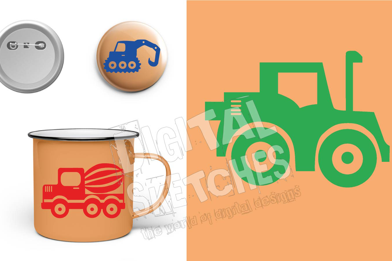 Illustration Construction Machines Autos Cut File .SVG .DXF example image 2