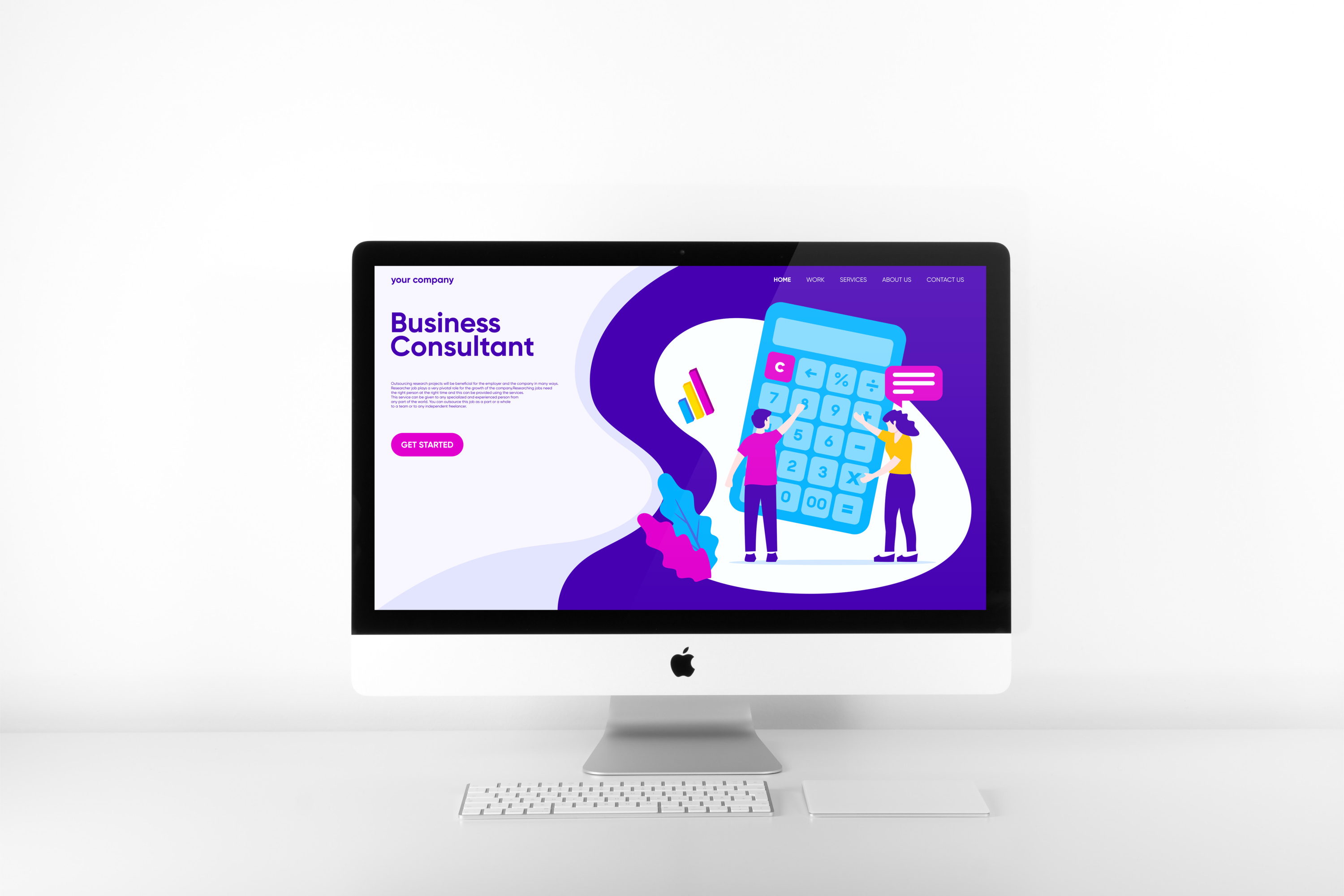 Business Consultant Landing Page Flat Illustration