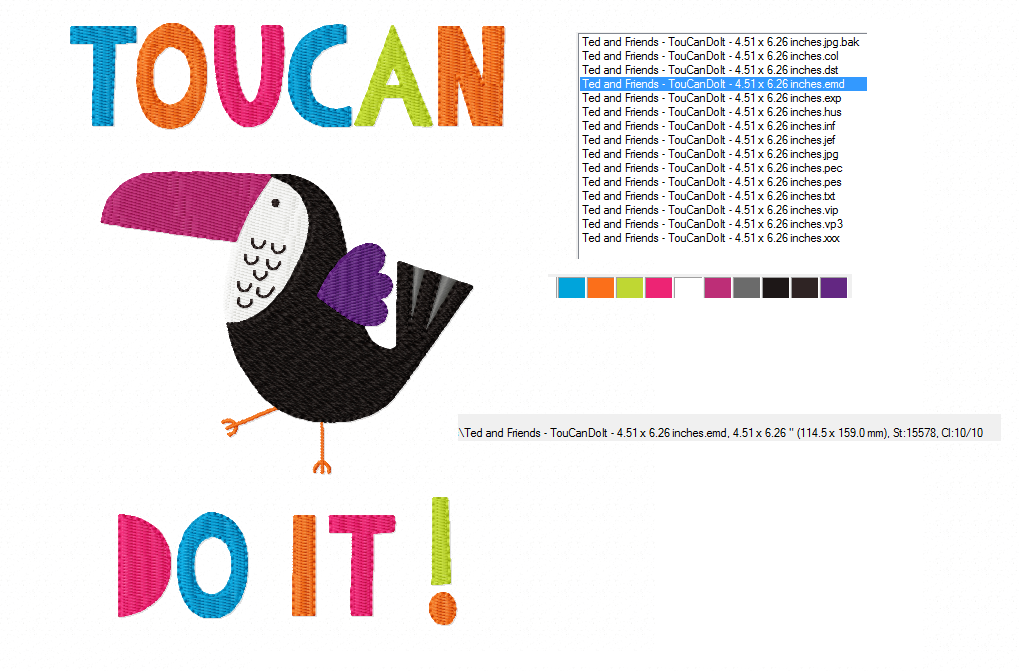 TOUCANDOIT Machine Embroidery Design in 2 sizes example image 2