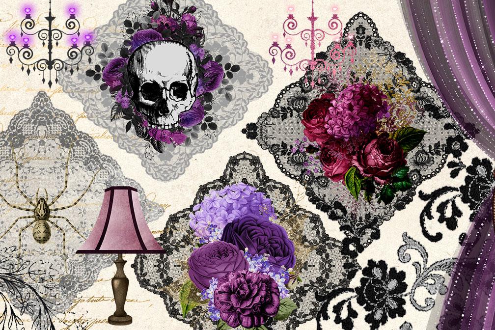 Gothic Romance Digital Scrapbooking Kit example image 2