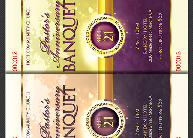 Clergy Anniversary Banquet Ticket Template example image 3