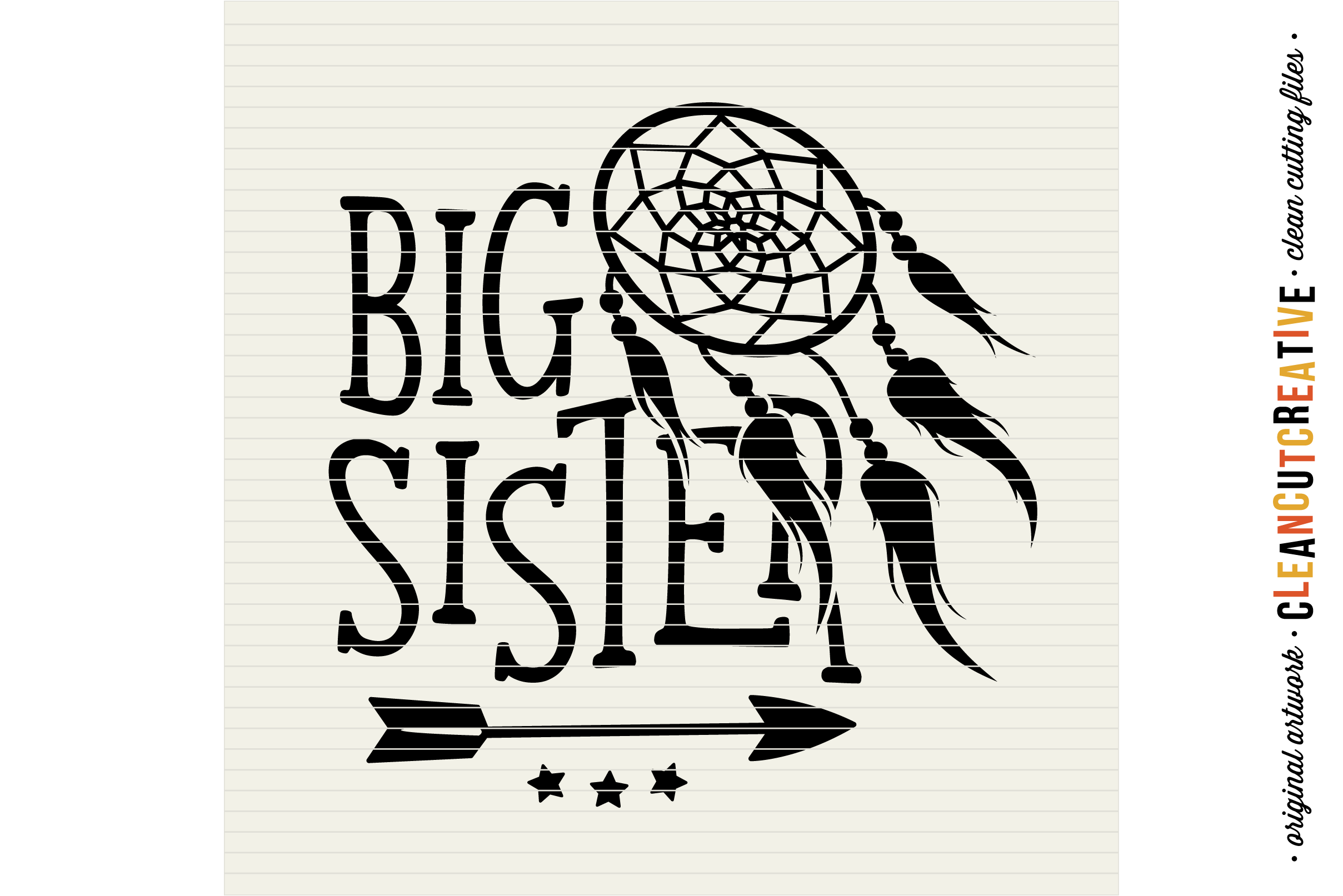 BIG SISTER cutfile design withdreamcatcher and feathers - SVG DXF EPS PNG - clean cutting files example image 3