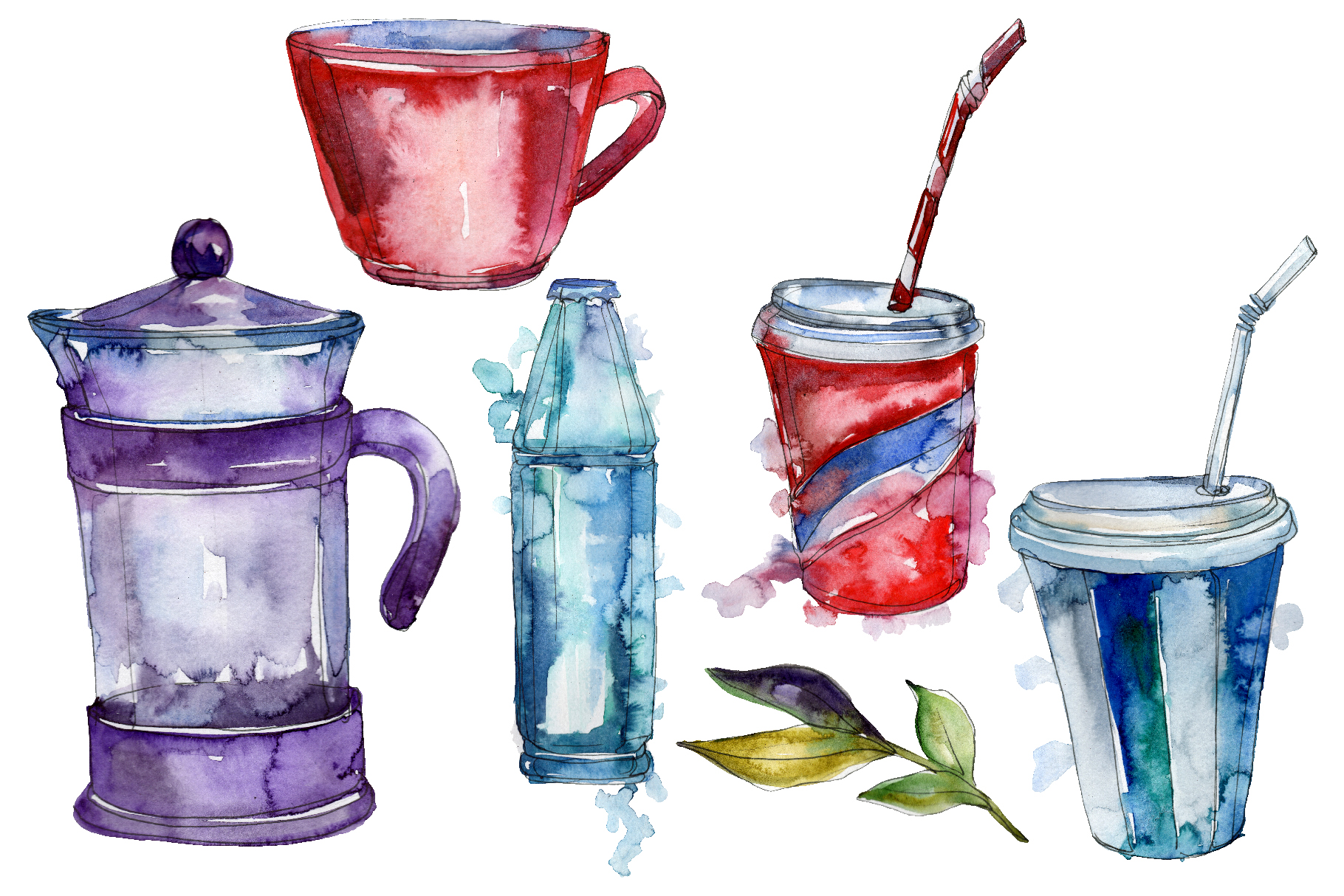 Drinks tea ceremony Watercolor png example image 1