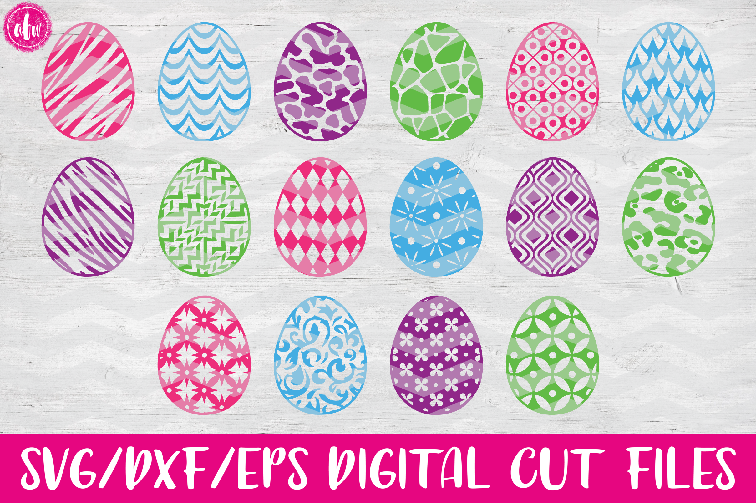 Pattern Easter Eggs Set of 40 - SVG, DXF, EPS Cut Files example image 2