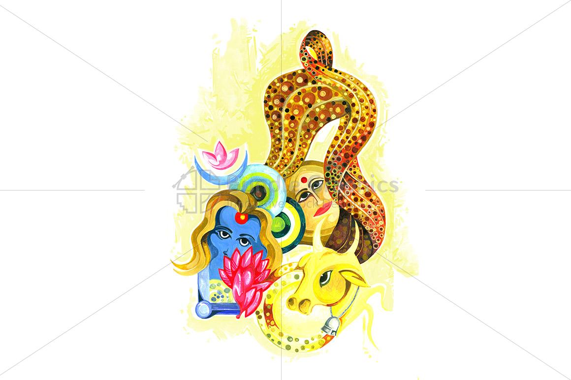 Krishna Yashoda and Nandi - Abstract Painting example image 1