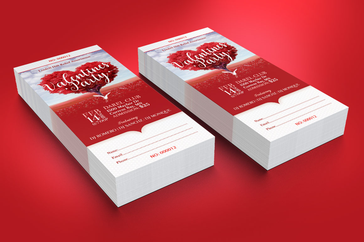 Tree Heart Valentines Party Ticket Template example image 5