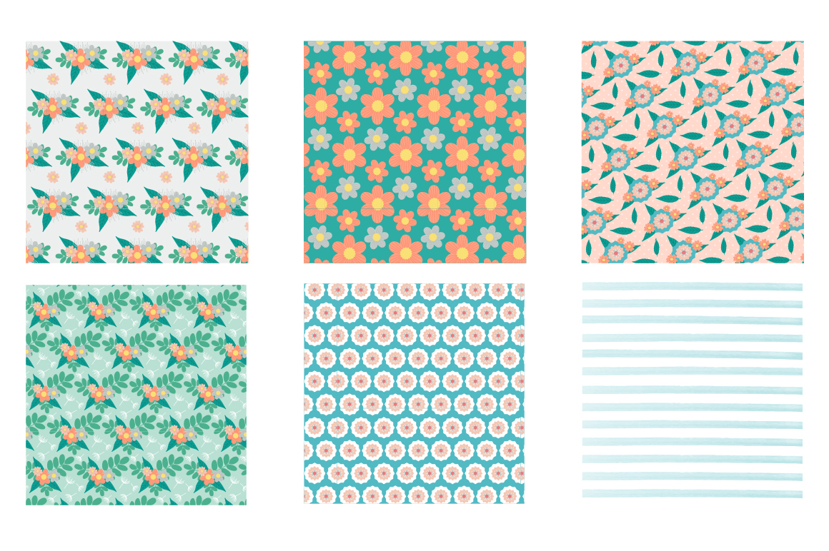 Retro Spring Pattern collection, vector ai, eps and jp example image 3