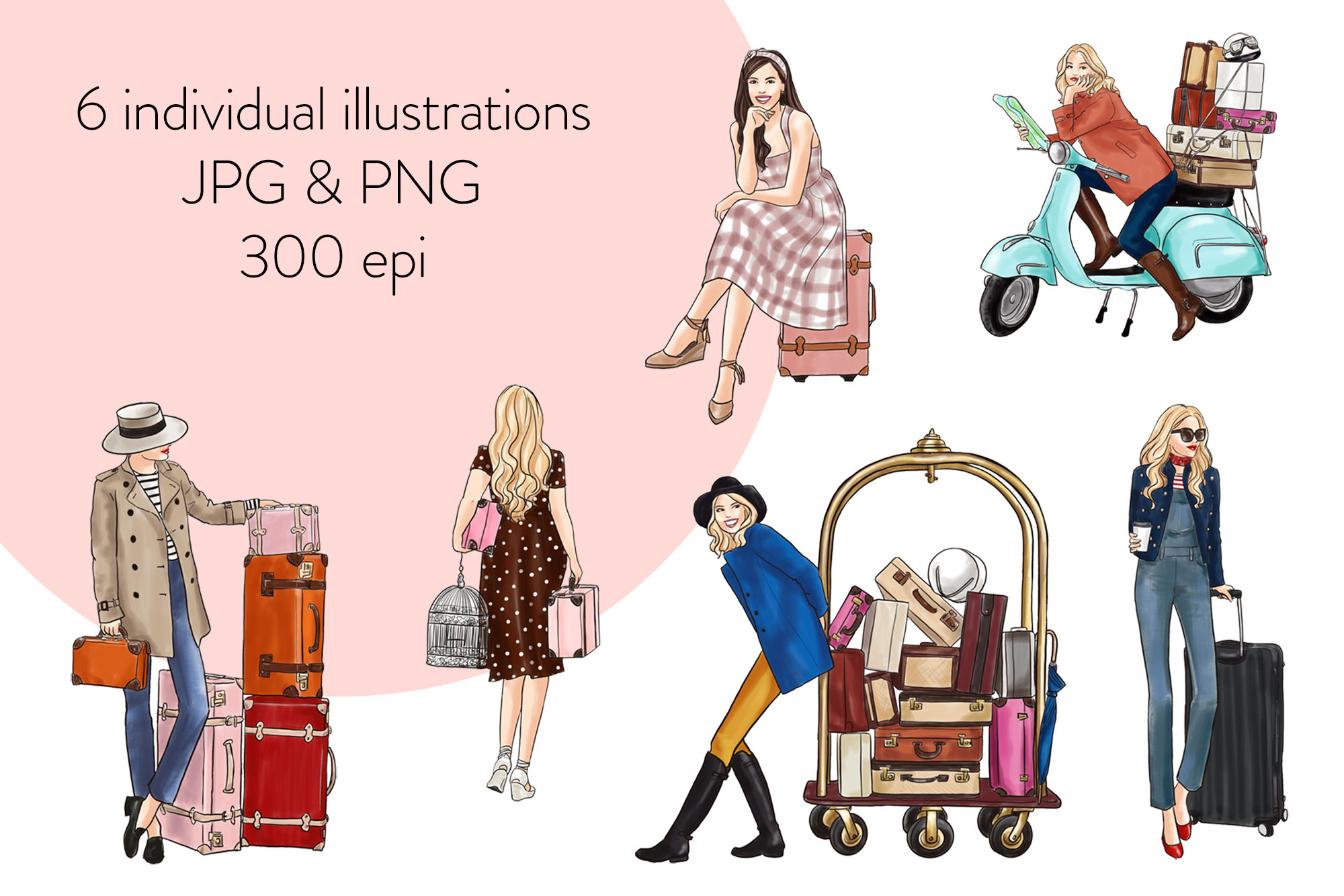 Fashion illustration clipart - Travel Girls 3 - Light Skin example image 2