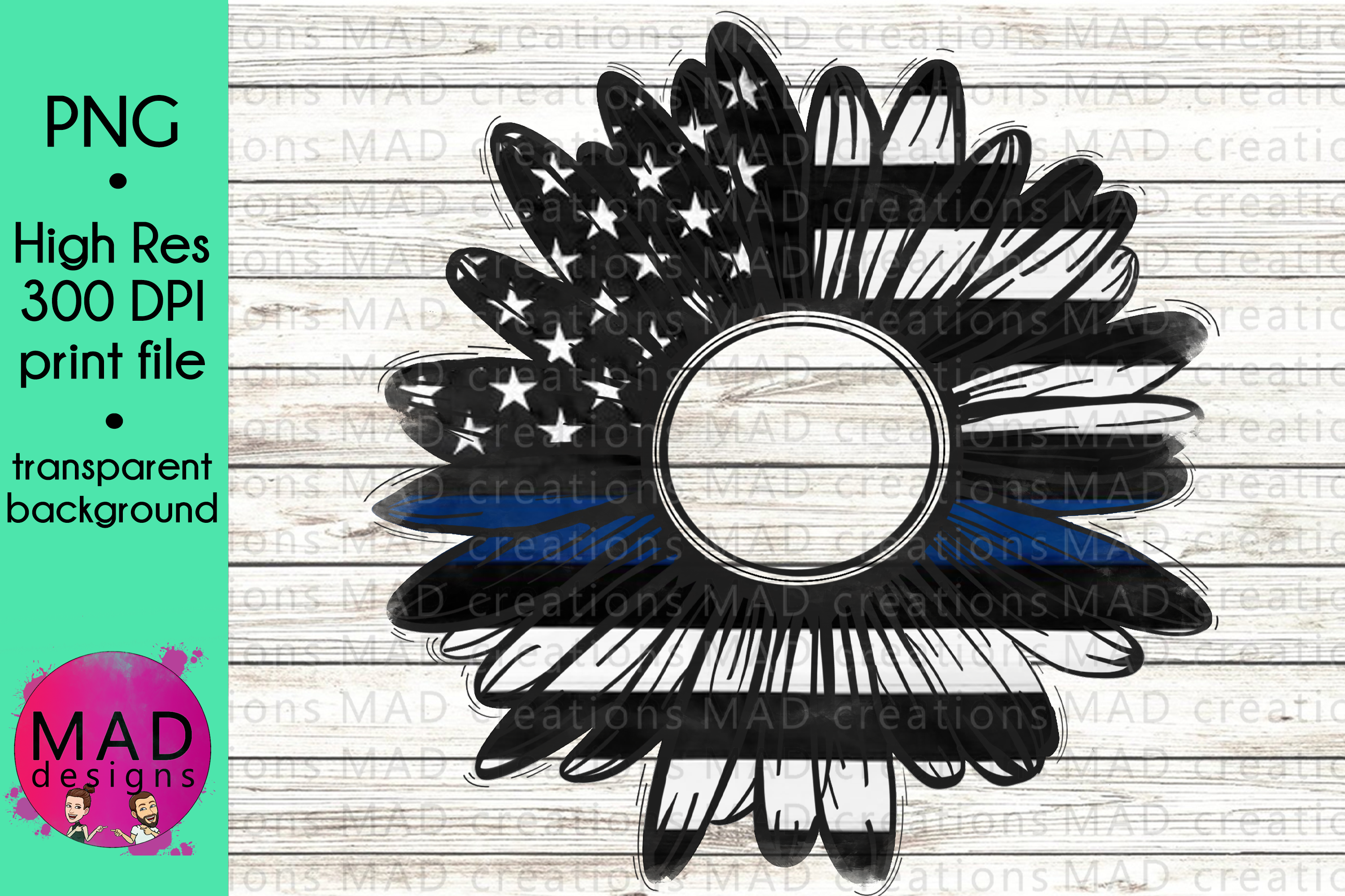 Thin Blue Line - Rustic Sunflower - Police example image 1