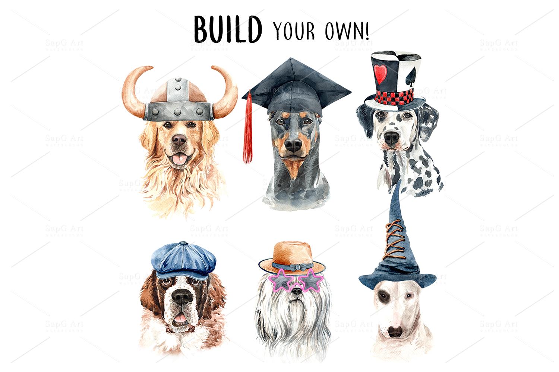 Dog watercolor clipart, Pet clip arts, Dog Set D example image 4