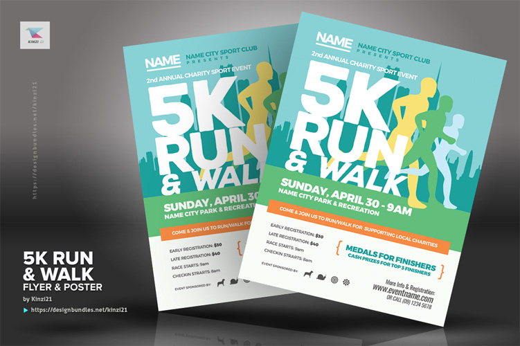 5K Run & Walk Flyer & Poster Templates example image 4