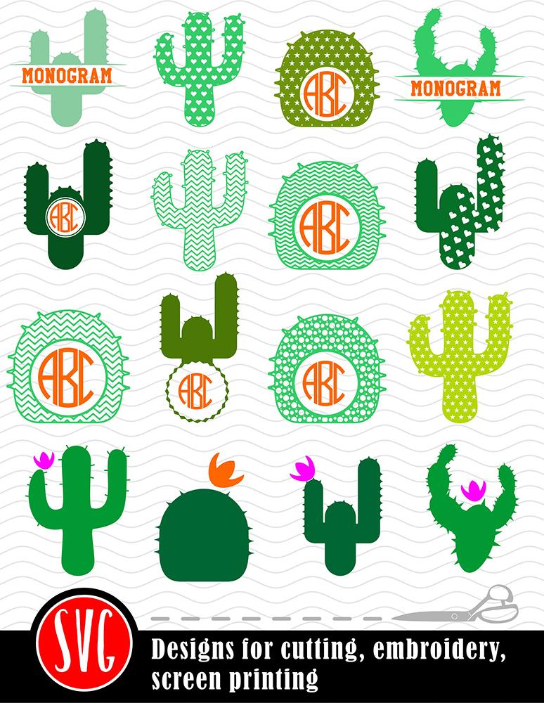 16 Cactus Monograms Bundle SVG, DXF, JPG, PNG, DWG, AI, EPS example image 2