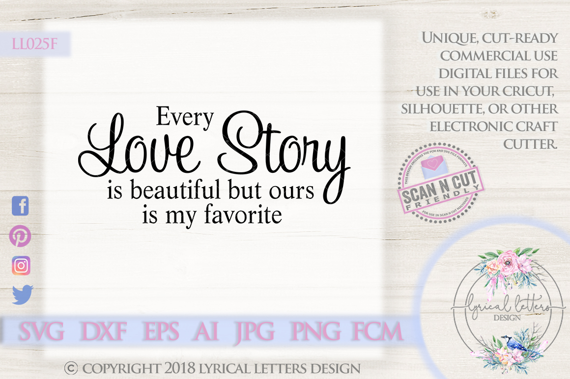 Every Love Story is Beautiful SVG DXF Cut File LL025F example image 1