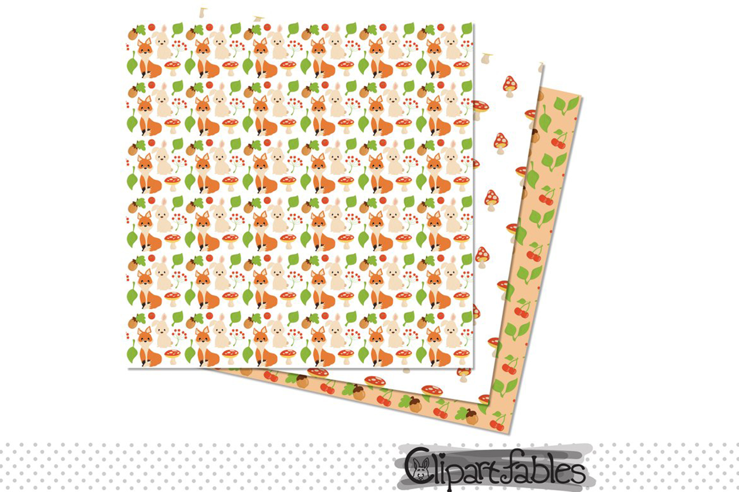 Woodland Clipart, Cute forest animals and DIGITAL papers example image 2