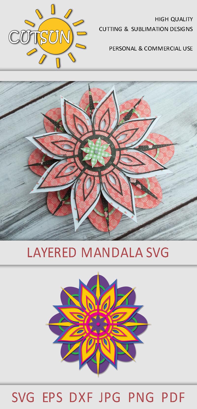 Download Mandala SVG   3D Layered Mandala SVG cut file 8 layers