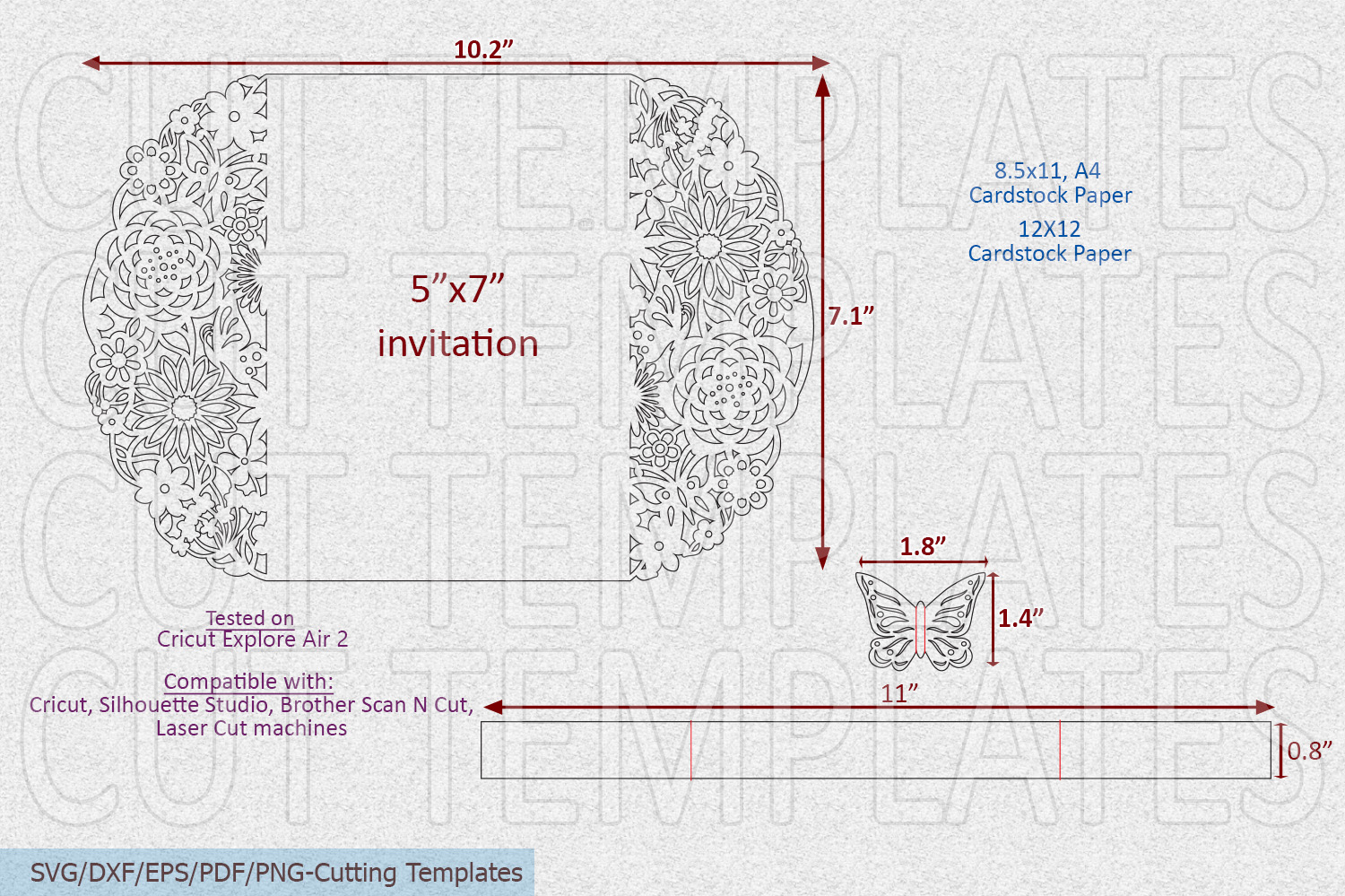 Floral Butterflies Wedding invitation Gate Fold laser cut example image 3