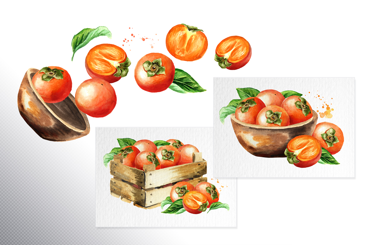 Persimmon. Watercolor set example image 3