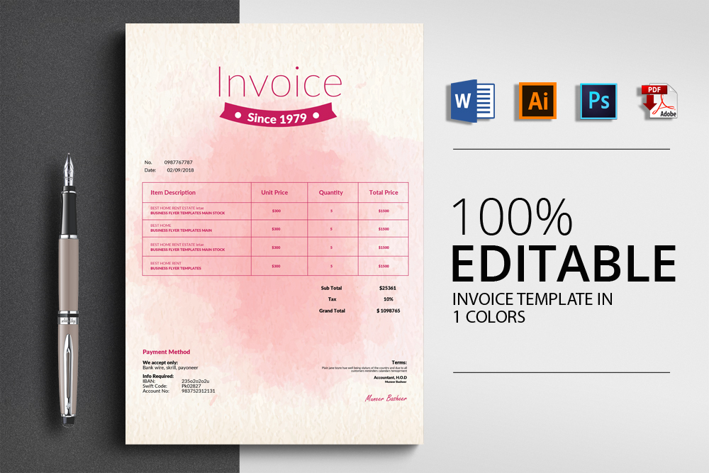 Invoice Microsoft Word Template example image 1