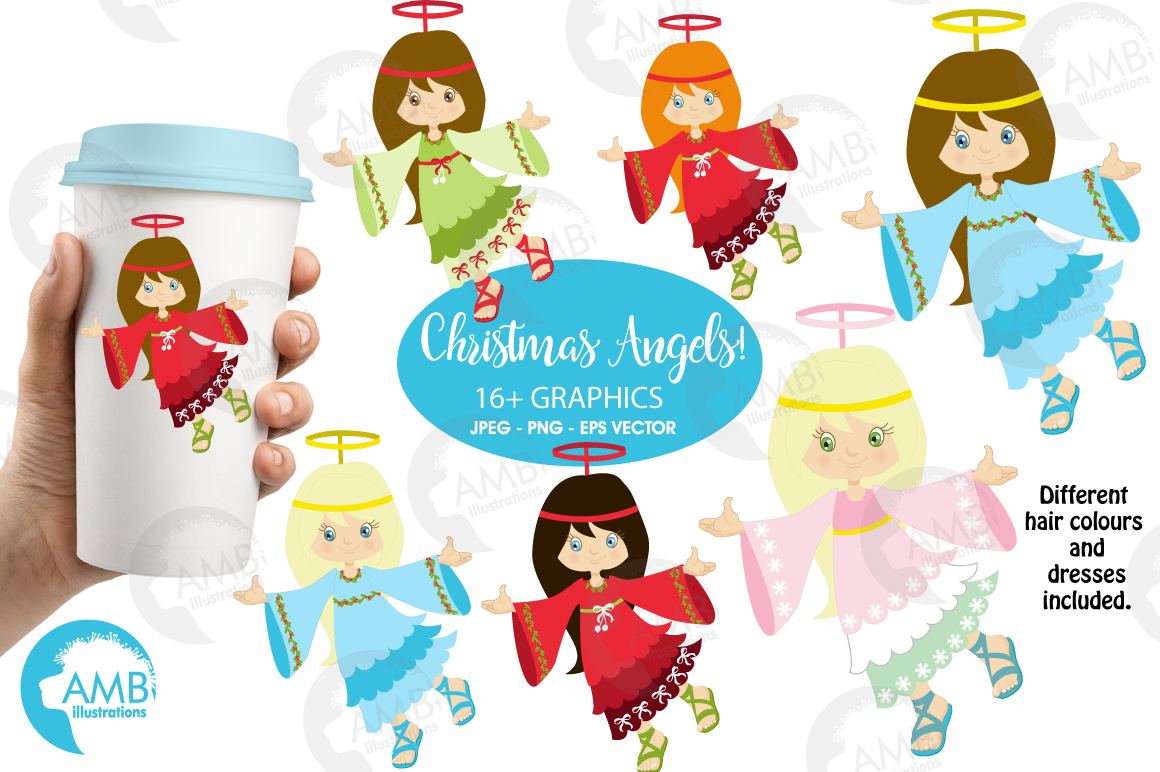 Christmas Angels clipart, graphics, illustratins AMB-572 example image 1