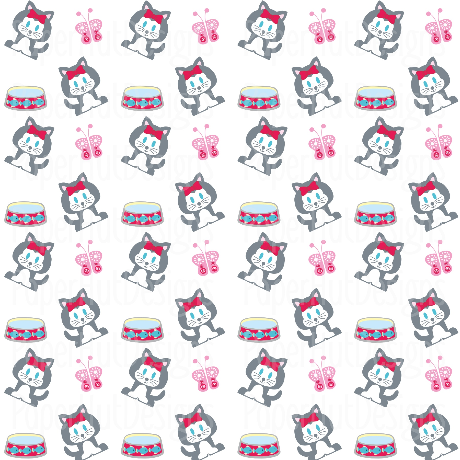 Kitten Cat Clipart and Digital Papers Set example image 5